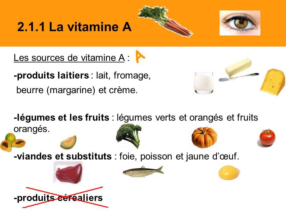 Les sources de vitamine A : -produits laitiers : lait, fromage, beurre (margarine) et crème.