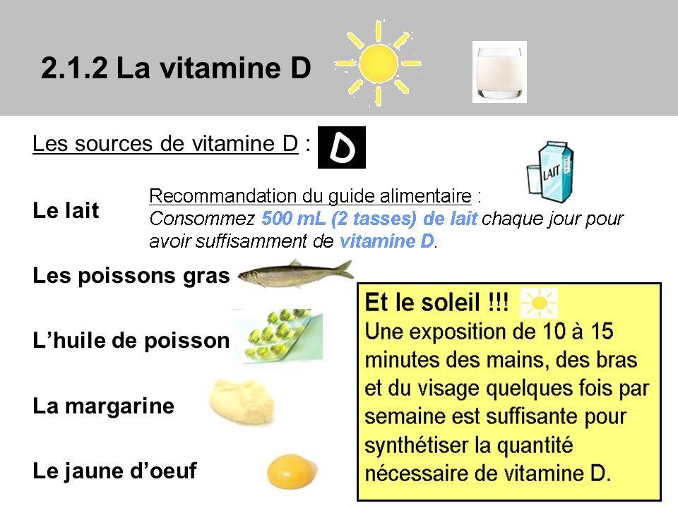Les sources de vitamine D : Le lait Les poissons gras Lhuile de poisson La margarine Le jaune doeuf 2.1.2 La vitamine D D