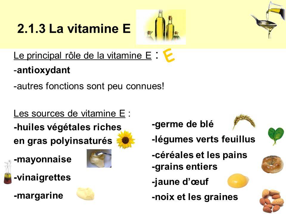Le principal rôle de la vitamine E : -antioxydant -autres fonctions sont peu connues.