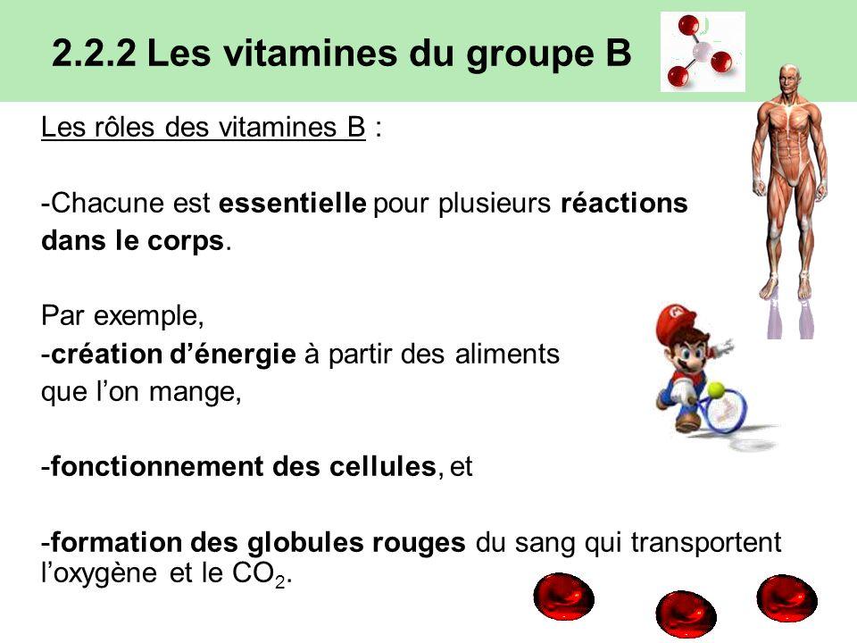 Les rôles des vitamines B : -Chacune est essentielle pour plusieurs réactions dans le corps.