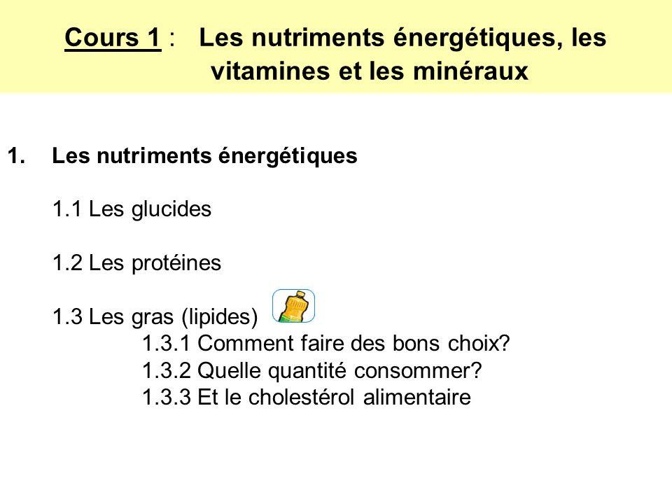 Cours 1 : Les nutriments énergétiques, les vitamines et les minéraux 1.Les nutriments énergétiques 1.1 Les glucides 1.2 Les protéines 1.3 Les gras (lipides) 1.3.1 Comment faire des bons choix.