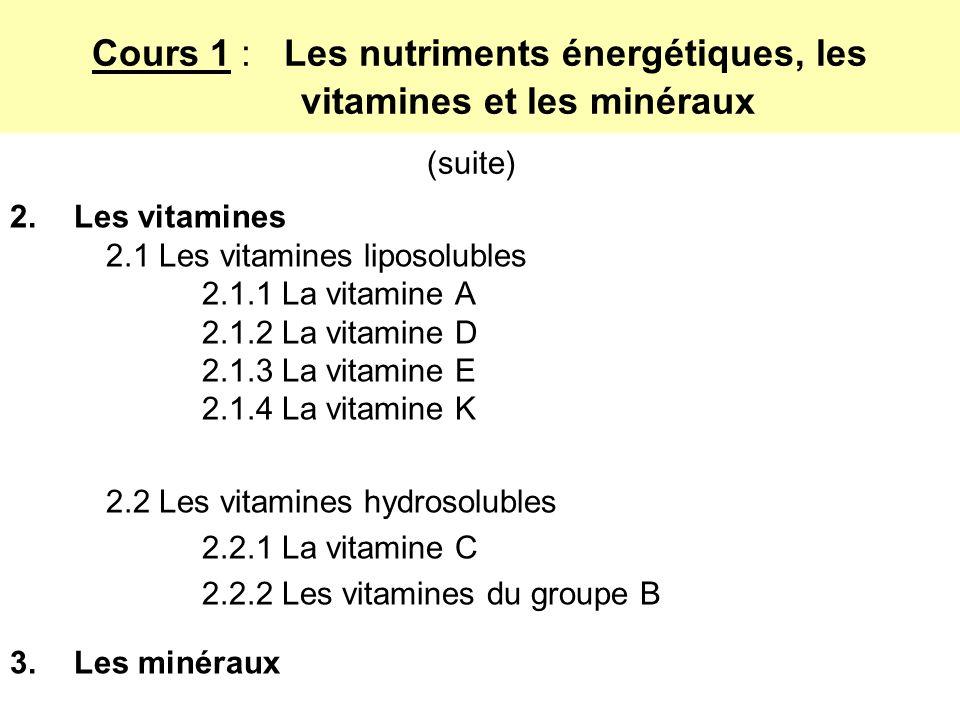 2.Les vitamines 2.1 Les vitamines liposolubles 2.1.1 La vitamine A 2.1.2 La vitamine D 2.1.3 La vitamine E 2.1.4 La vitamine K 2.2 Les vitamines hydrosolubles 2.2.1 La vitamine C 2.2.2 Les vitamines du groupe B 3.Les minéraux Cours 1 : Les nutriments énergétiques, les vitamines et les minéraux (suite)