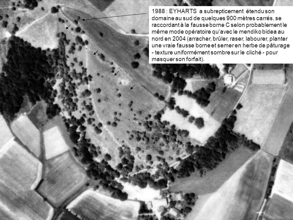 1988 : EYHARTS a subrepticement étendu son domaine au sud de quelques 900 mètres carrés, se raccordant à la fausse borne C selon probablement le même