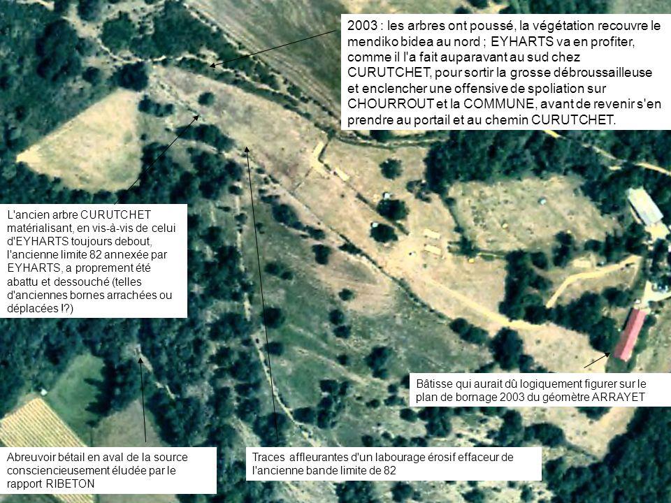 2003 : les arbres ont poussé, la végétation recouvre le mendiko bidea au nord ; EYHARTS va en profiter, comme il l'a fait auparavant au sud chez CURUT