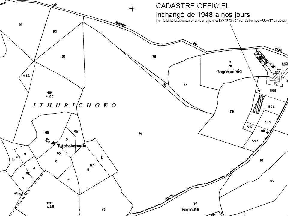 CADASTRE OFFICIEL inchangé de 1948 à nos jours (hormis les bâtisses contemporaines en gras chez EYHARTS. Cf. plan de bornage ARRAYET en pièces)