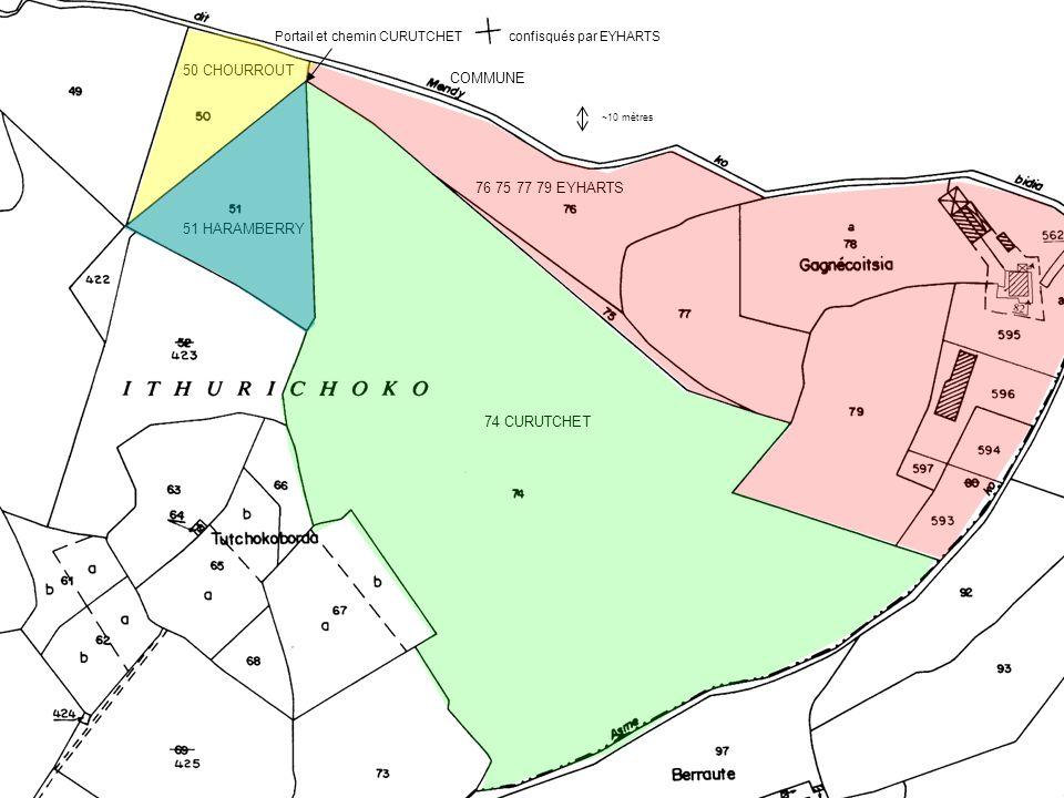 Bleu : zone de végétation sur le mendiko bidea dont EYHARTS va profiter pour s étendre subrepticement aux dépens de la COMMUNE et de CHOURROUT Rouge : la sécheresse caniculaire des étés du début des années 2000, permet de faire ressortir les vestiges de l ancienne bande de terrain de CURUTCHET, insidieusement annexée dans l intervalle par EYHARTS (la prochaine étape sera le portail, une fois les exactions du nord-ouest consommées).