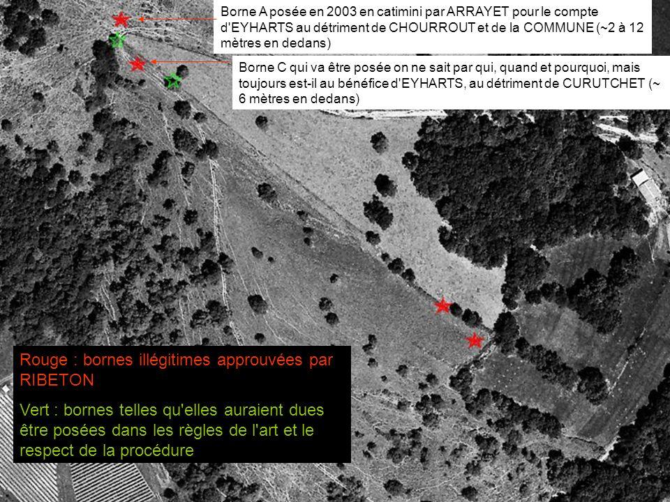Vert : les limites 82 (consensus) Rouge : les limites in fine conquises par la force par EYHARTS de 82 à 05 Jaune : les limites définies par la transaction RIBETON 06
