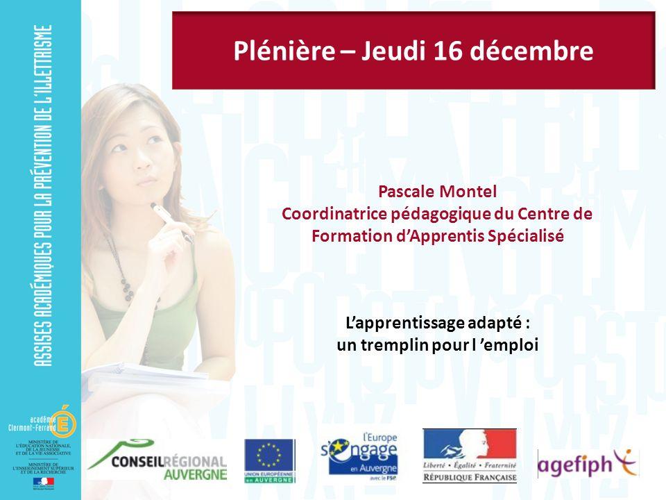 Pascale Montel Coordinatrice pédagogique du Centre de Formation dApprentis Spécialisé Lapprentissage adapté : un tremplin pour l emploi