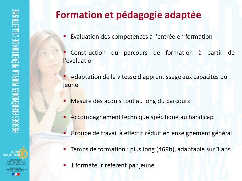 Évaluation des compétences à l'entrée en formation Construction du parcours de formation à partir de l'évaluation Adaptation de la vitesse d'apprentis