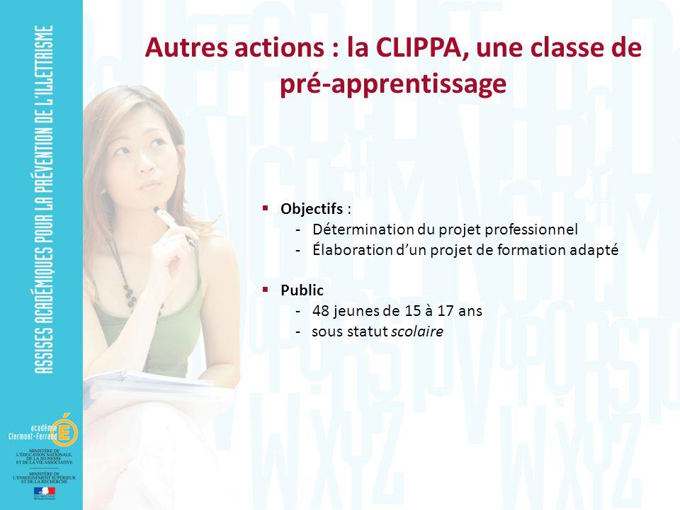 Autres actions : la CLIPPA, une classe de pré-apprentissage Objectifs : - Détermination du projet professionnel - Élaboration dun projet de formation adapté Public - 48 jeunes de 15 à 17 ans - sous statut scolaire