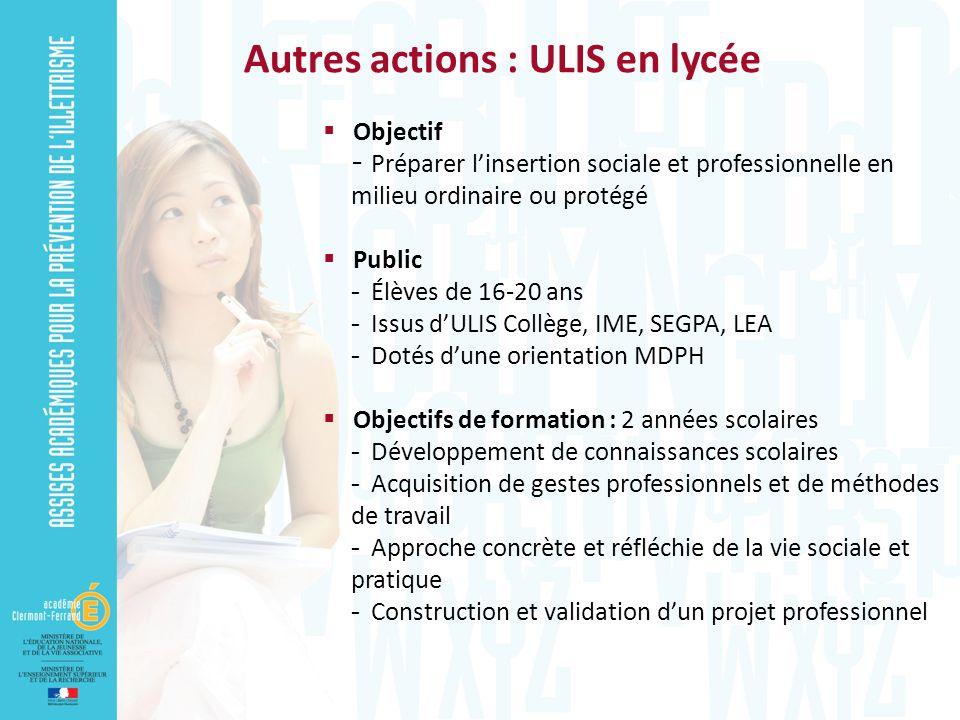 Objectif - Préparer linsertion sociale et professionnelle en milieu ordinaire ou protégé Public  Élèves de 16-20 ans  Issus dULIS Collège, IME, SEGP