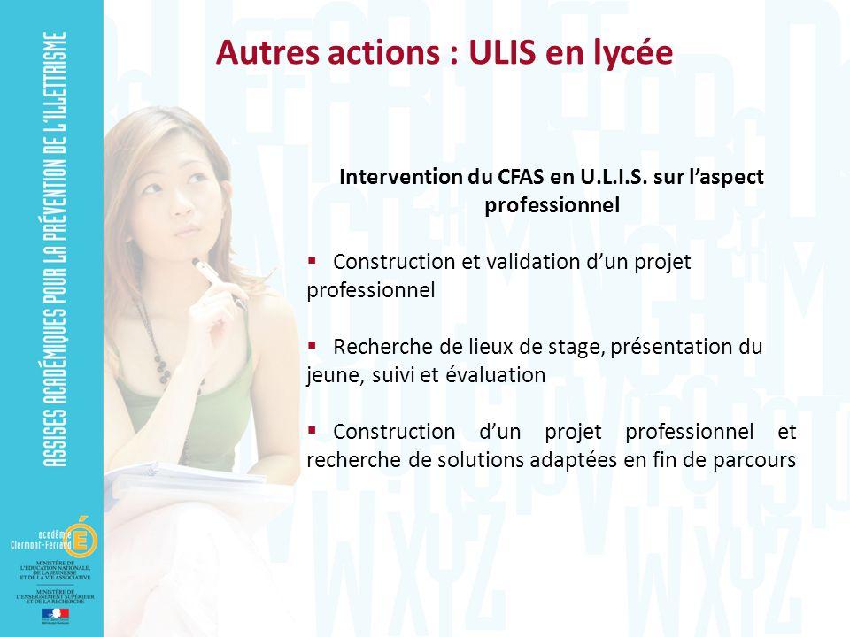 Intervention du CFAS en U.L.I.S. sur laspect professionnel Construction et validation dun projet professionnel Recherche de lieux de stage, présentati