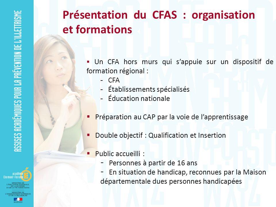Un CFA hors murs qui sappuie sur un dispositif de formation régional :  CFA  Établissements spécialisés  Éducation nationale Préparation au CAP par