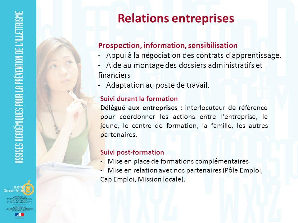 Prospection, information, sensibilisation - Appui à la négociation des contrats d'apprentissage. - Aide au montage des dossiers administratifs et fina