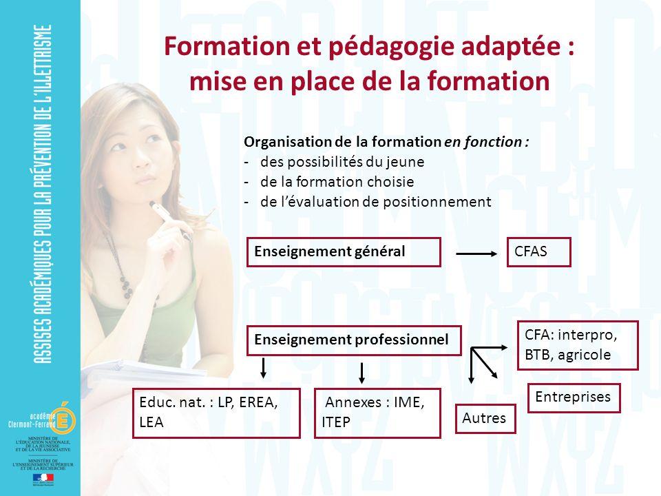 Formation et pédagogie adaptée : mise en place de la formation Organisation de la formation en fonction : - des possibilités du jeune - de la formatio