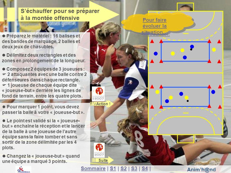 Animh@nd Les 2 arrières latérales passent leur balle à leurs défenseures directes puis les 3 attaquantes échangent la balle.