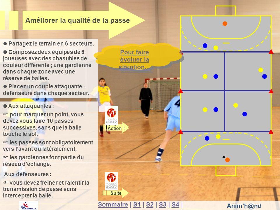 Animh@nd Aux attaquantes : pour marquer un point, vous devez vous faire 10 passes successives, sans que la balle touche le sol, les passes sont obligatoirement vers lavant ou latéralement, les gardiennes font partie du réseau déchange.