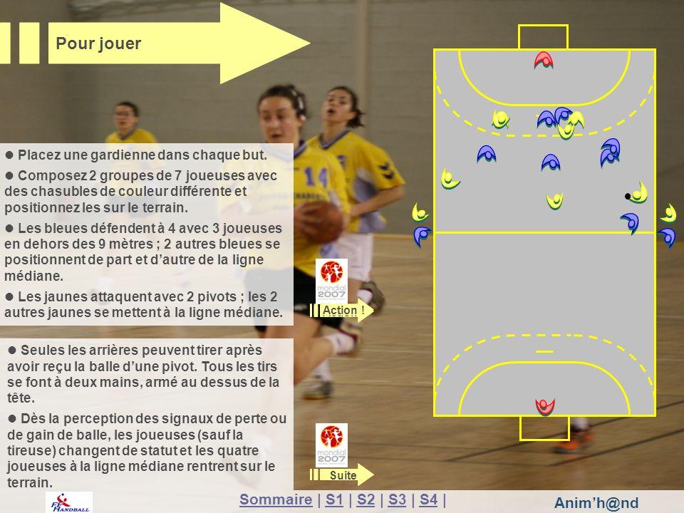 Animh@nd Placez une gardienne dans chaque but. Composez 2 groupes de 7 joueuses avec des chasubles de couleur différente et positionnez les sur le ter