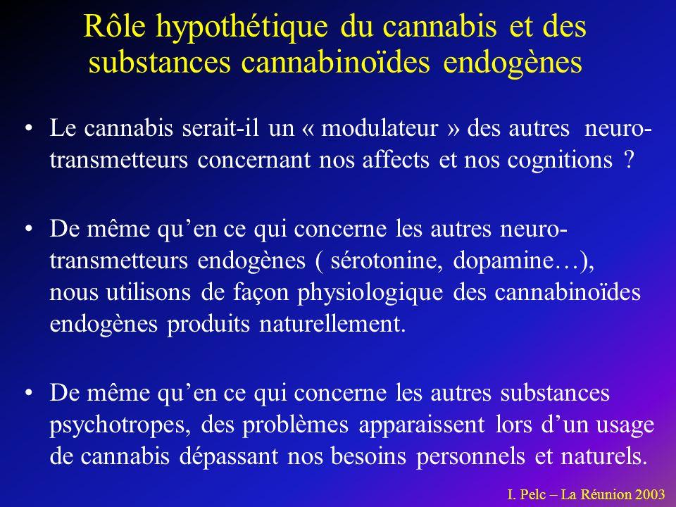 Le cannabis serait-il un « modulateur » des autres neuro- transmetteurs concernant nos affects et nos cognitions .