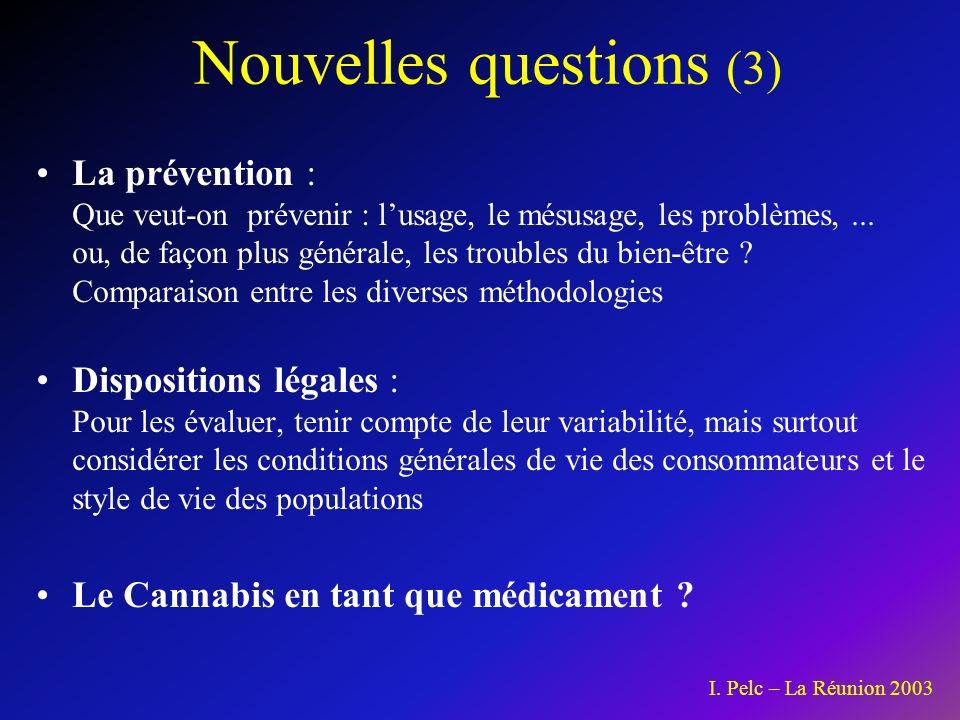 Nouvelles questions (3) La prévention : Que veut-on prévenir : lusage, le mésusage, les problèmes,...