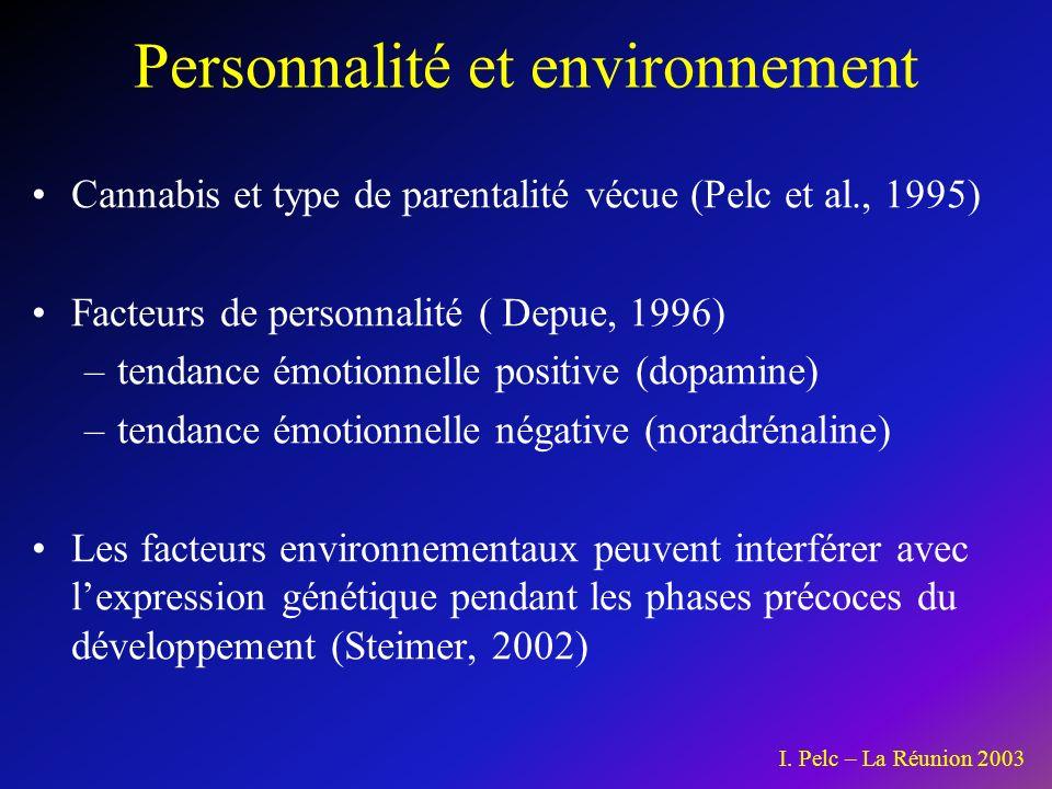 Cannabis et type de parentalité vécue (Pelc et al., 1995) Facteurs de personnalité ( Depue, 1996) –tendance émotionnelle positive (dopamine) –tendance émotionnelle négative (noradrénaline) Les facteurs environnementaux peuvent interférer avec lexpression génétique pendant les phases précoces du développement (Steimer, 2002) Personnalité et environnement I.