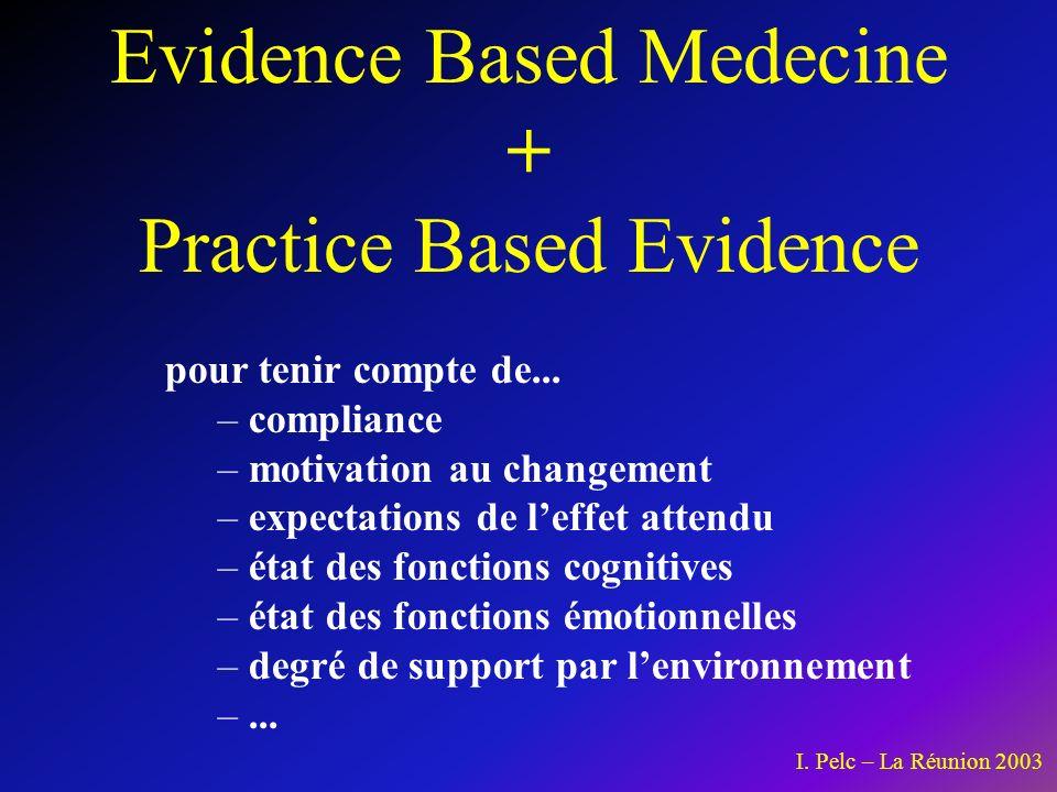 Evidence Based Medecine + Practice Based Evidence pour tenir compte de...