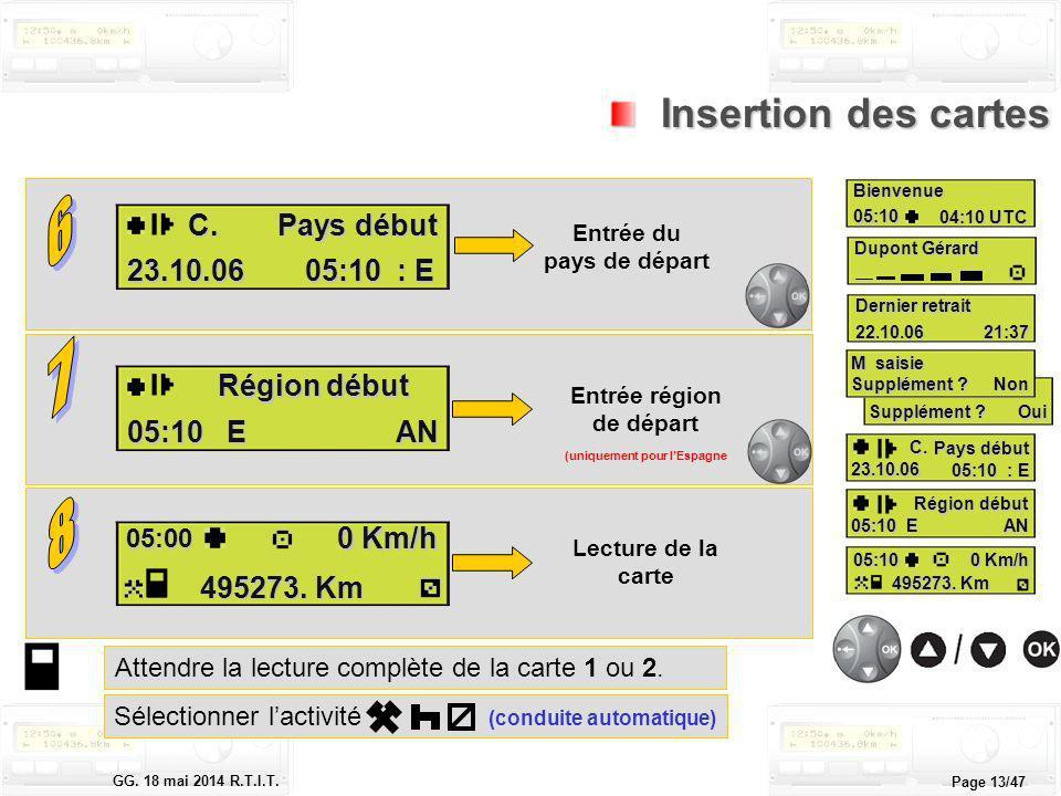 Le tachygraphe électronique GG. 18 mai 2014 R.T.I.T. Page 13/47 Attendre la lecture complète de la carte 1 ou 2. Insertion des cartes Insertion des ca