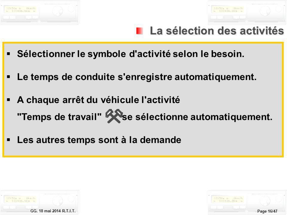 Le tachygraphe électronique GG. 18 mai 2014 R.T.I.T. Page 16/47 La sélection des activités La sélection des activités Sélectionner le symbole d'activi