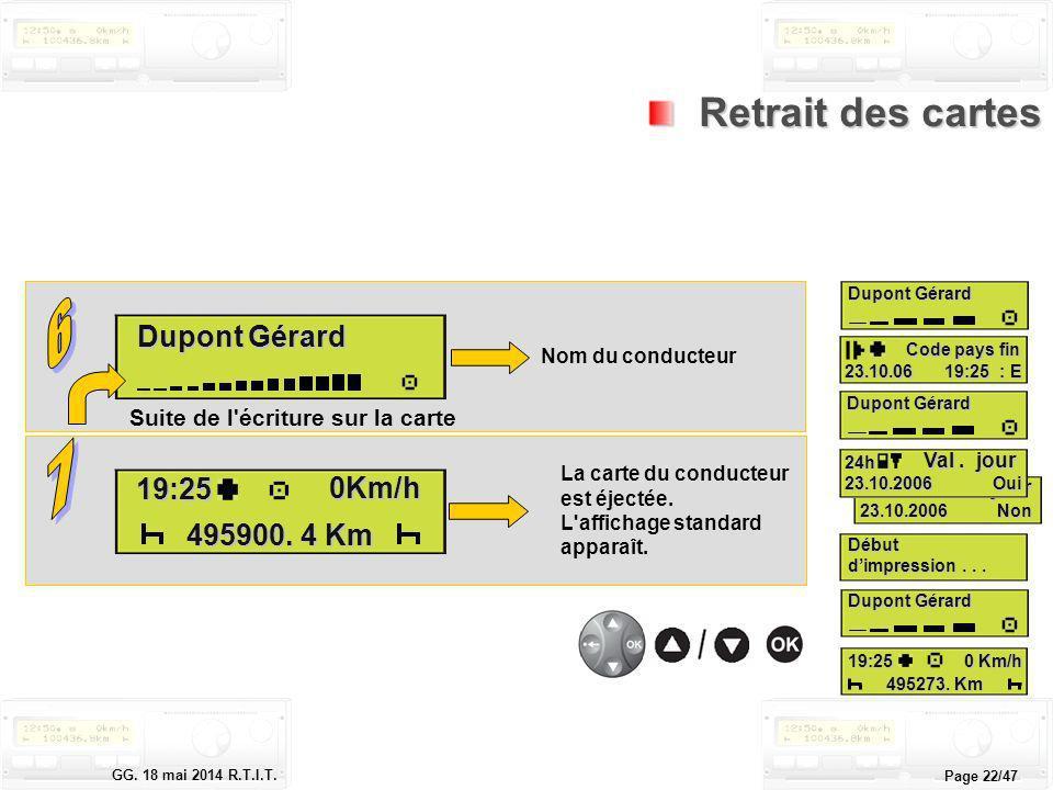 Le tachygraphe électronique GG. 18 mai 2014 R.T.I.T. Page 22/47 Retrait des cartes Retrait des cartes Nom du conducteur Dupont Gérard Suite de l'écrit