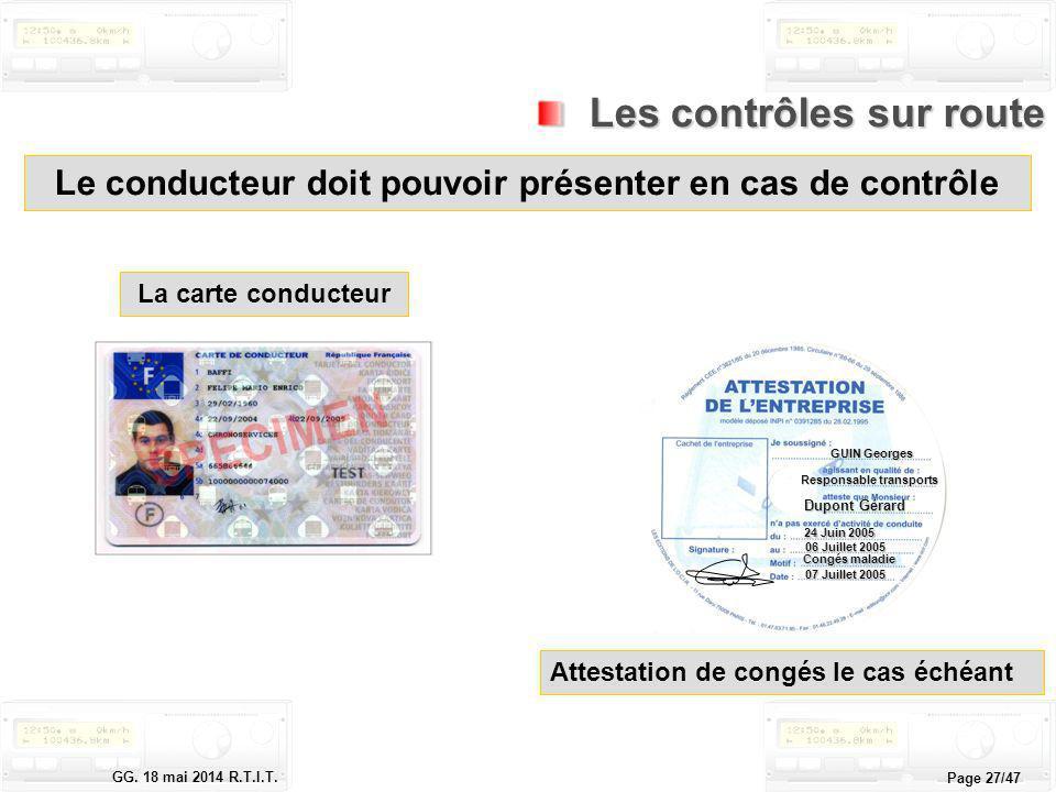 Le tachygraphe électronique GG. 18 mai 2014 R.T.I.T. Page 27/47 Le conducteur doit pouvoir présenter en cas de contrôle Les contrôles sur route Les co