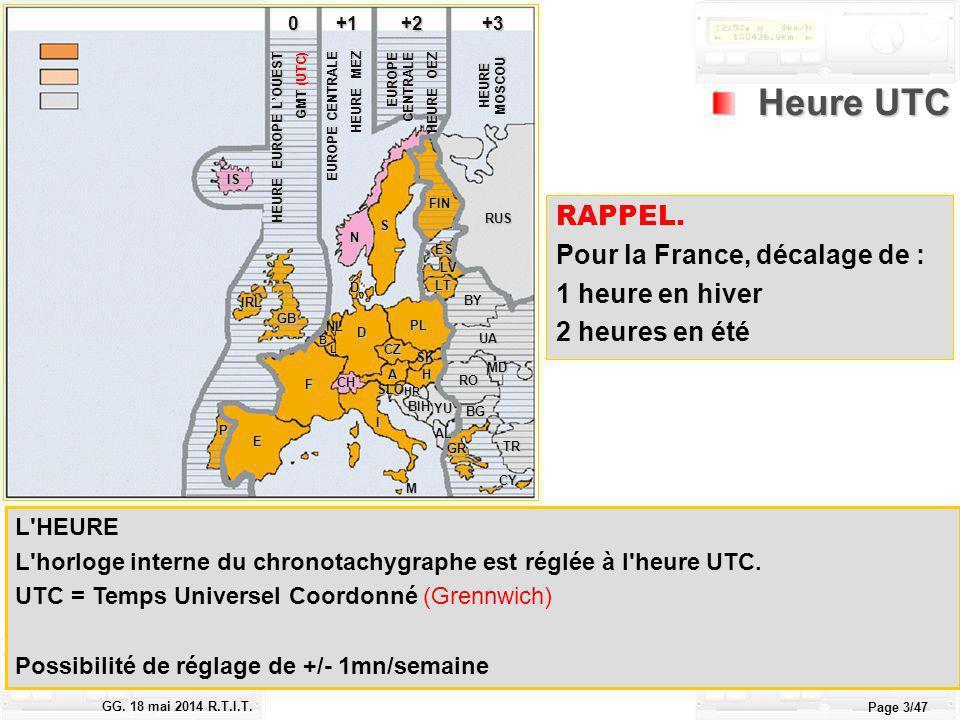 Le tachygraphe électronique GG. 18 mai 2014 R.T.I.T. Page 3/47 RAPPEL. Pour la France, décalage de : 1 heure en hiver 2 heures en été Heure UTC Heure