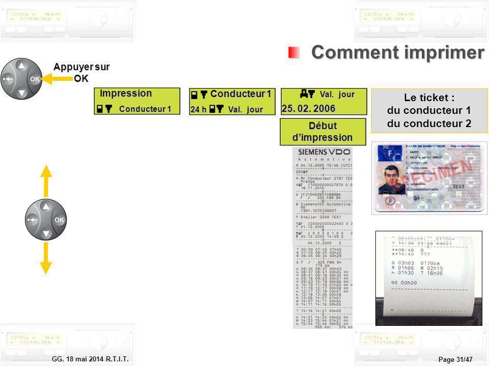 Le tachygraphe électronique GG. 18 mai 2014 R.T.I.T. Page 31/47 Comment imprimer Comment imprimerImpression Conducteur 1 Impression Conducteur 2 Impre