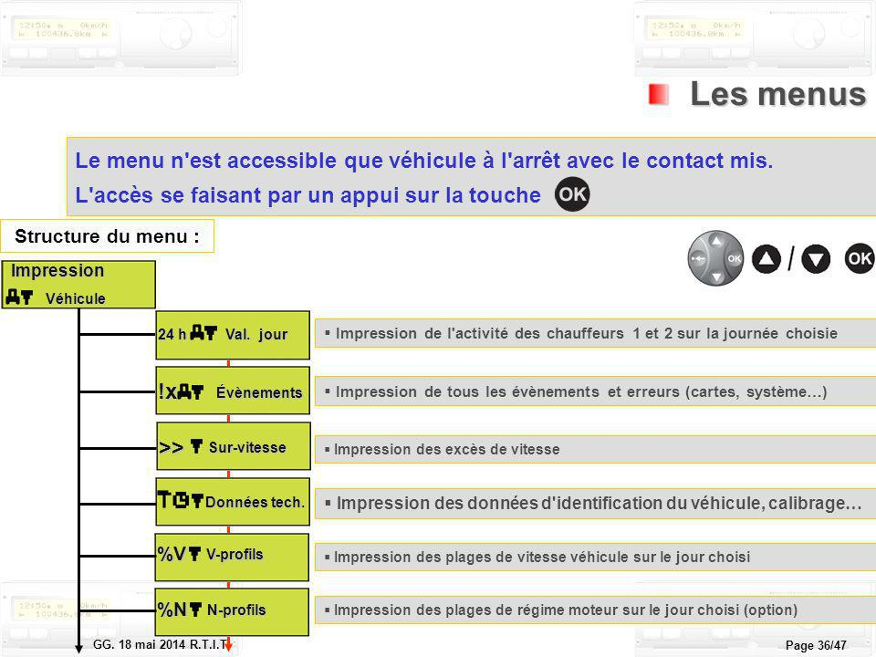 Le tachygraphe électronique GG. 18 mai 2014 R.T.I.T. Page 36/47 Les menus Les menus Le menu n'est accessible que véhicule à l'arrêt avec le contact mi