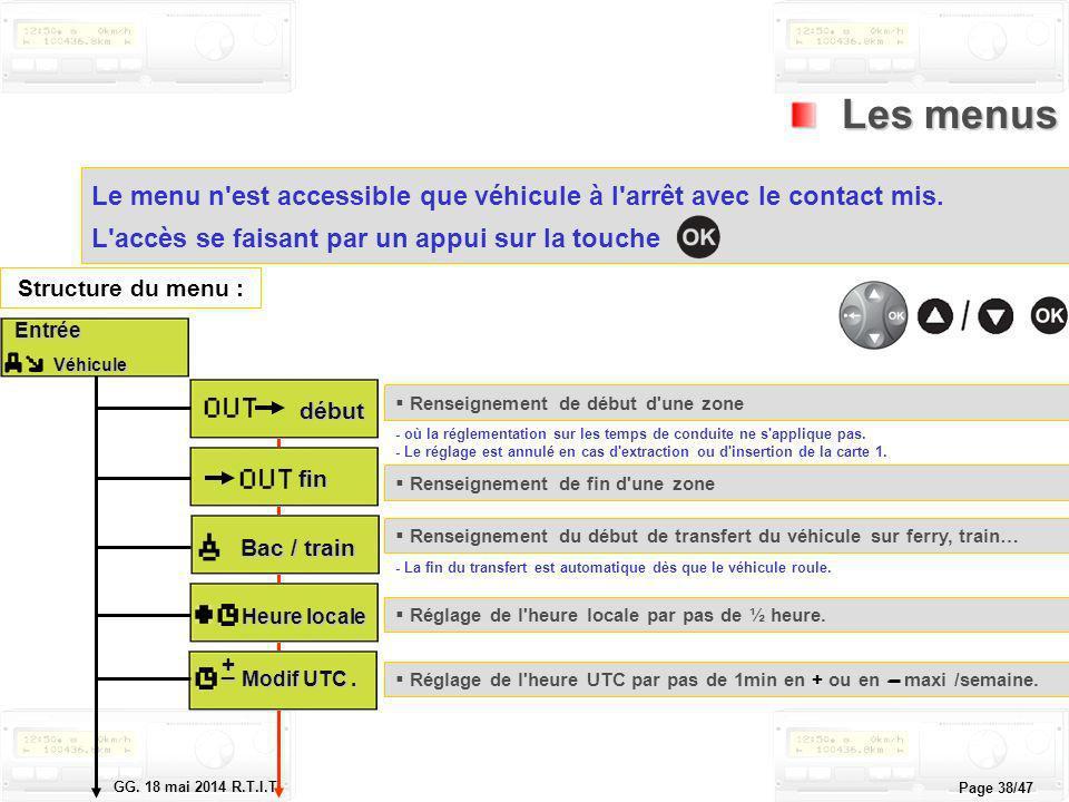 Le tachygraphe électronique GG. 18 mai 2014 R.T.I.T. Page 38/47 Les menus Les menus Le menu n'est accessible que véhicule à l'arrêt avec le contact mi