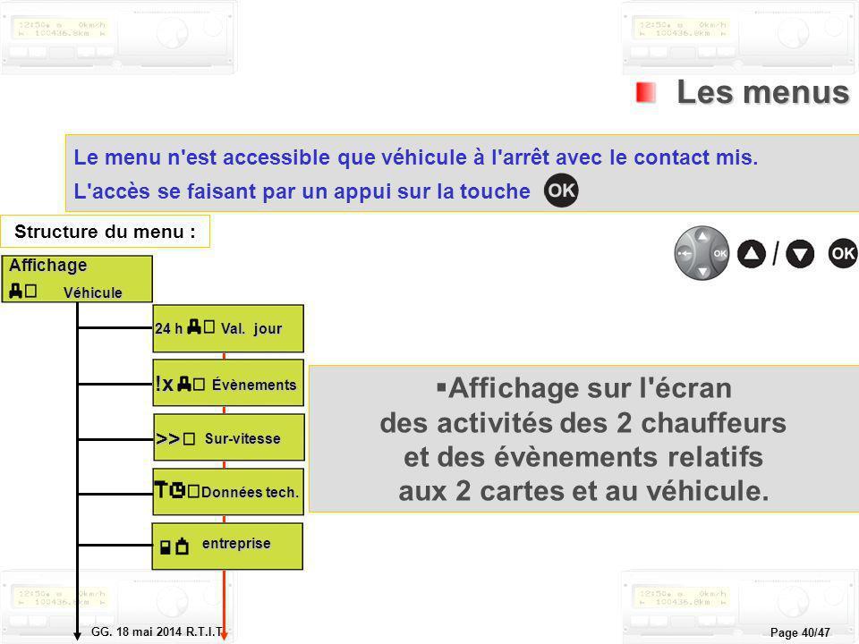 Le tachygraphe électronique GG. 18 mai 2014 R.T.I.T. Page 40/47 Les menus Les menus Le menu n'est accessible que véhicule à l'arrêt avec le contact mi