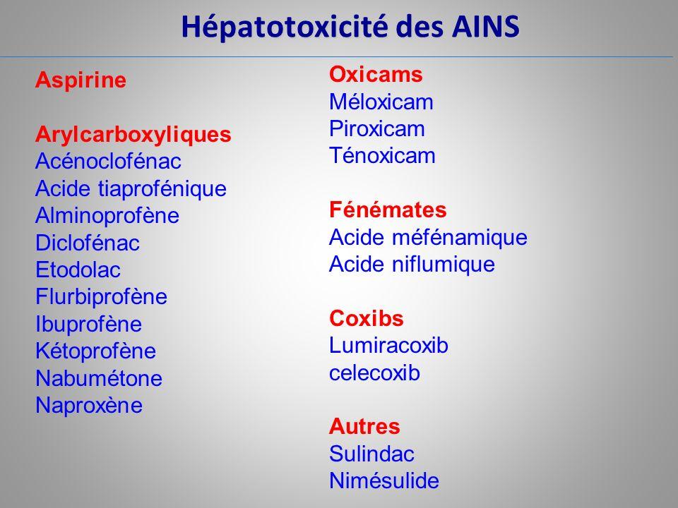 Hépatotoxicité des AINS Aspirine Arylcarboxyliques Acénoclofénac Acide tiaprofénique Alminoprofène Diclofénac Etodolac Flurbiprofène Ibuprofène Kétopr