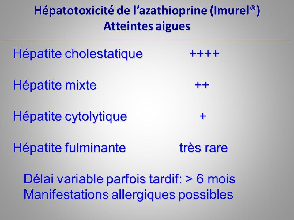 Hépatotoxicité de lazathioprine (Imurel®) Atteintes aigues Hépatite cholestatique ++++ Hépatite mixte ++ Hépatite cytolytique + Hépatite fulminante tr