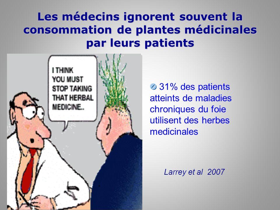 Les médecins ignorent souvent la consommation de plantes médicinales par leurs patients 31% des patients atteints de maladies chroniques du foie utili