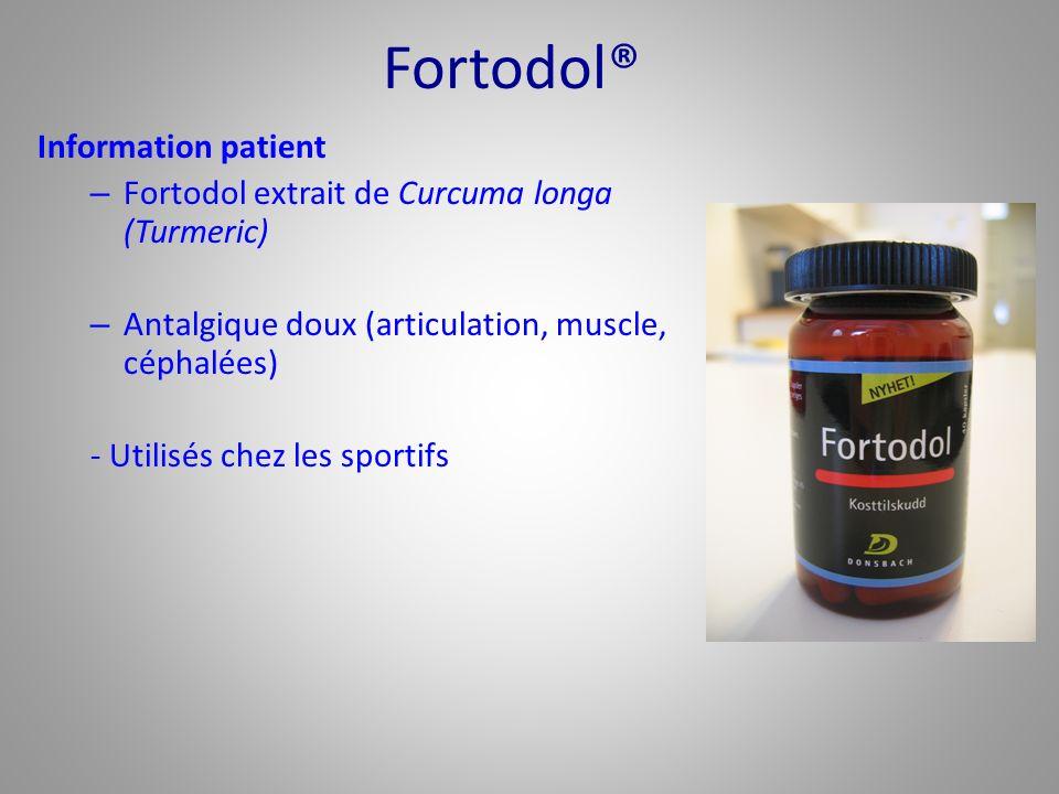 Fortodol® Information patient – Fortodol extrait de Curcuma longa (Turmeric) – Antalgique doux (articulation, muscle, céphalées) - Utilisés chez les s