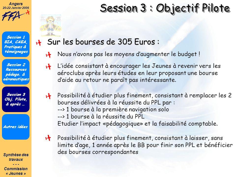 Synthèse des travaux - - - Commission« Jeunes »Angers 20-22 Janvier 2006 Session 3 : Objectif Pilote Autres idées Session 1 BIA, CAEA, Pratiques & tém