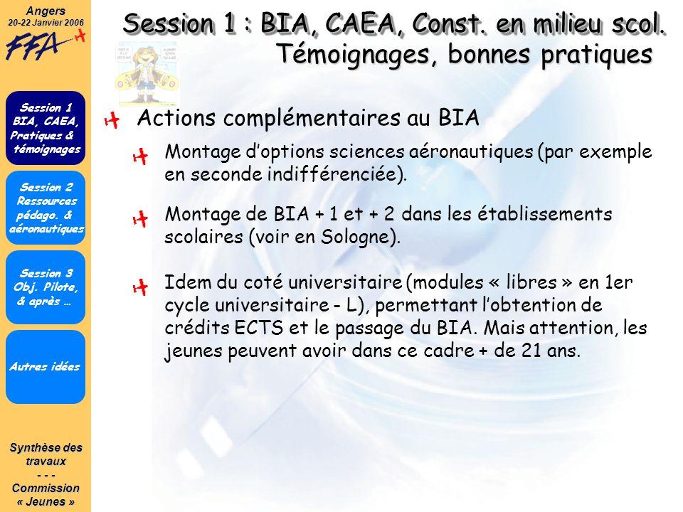 Synthèse des travaux - - - Commission« Jeunes »Angers 20-22 Janvier 2006 Session 1 : BIA, CAEA, Const. en milieu scol. Autres idées Session 1 BIA, CAE