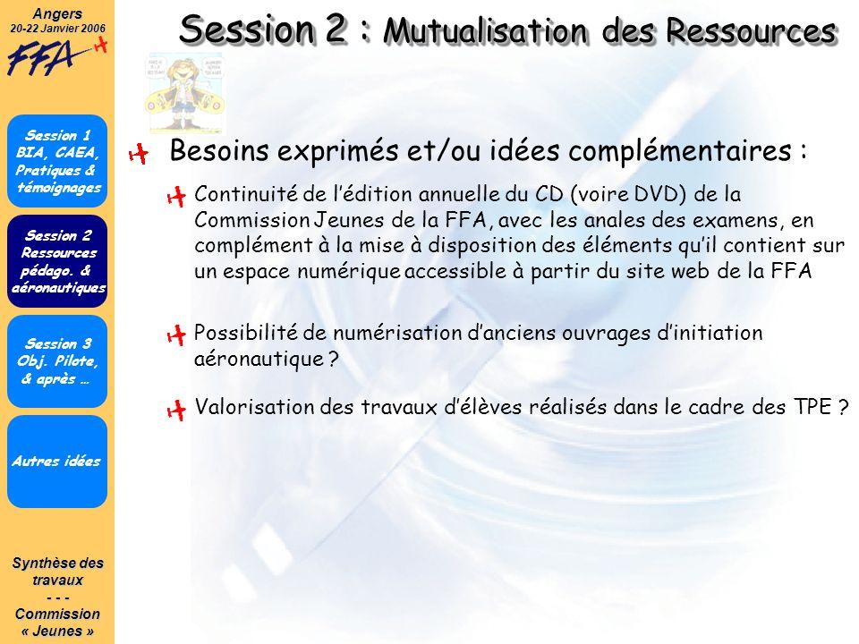 Synthèse des travaux - - - Commission« Jeunes »Angers 20-22 Janvier 2006 Session 2 : Mutualisation des Ressources Autres idées Session 1 BIA, CAEA, Pr
