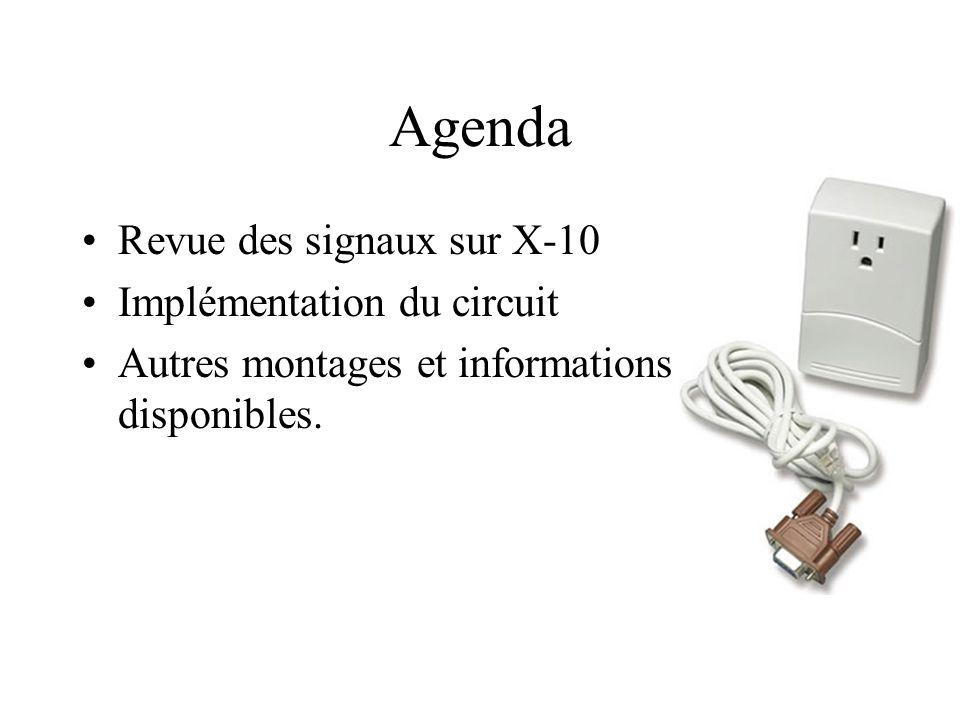 Agenda Revue des signaux sur X-10 Implémentation du circuit Autres montages et informations disponibles.