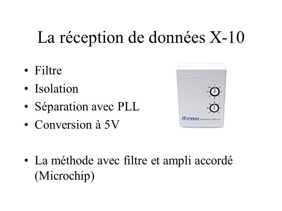La réception de données X-10 Filtre Isolation Séparation avec PLL Conversion à 5V La méthode avec filtre et ampli accordé (Microchip)
