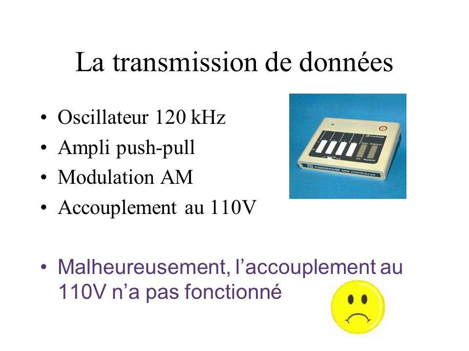 La transmission de données Oscillateur 120 kHz Ampli push-pull Modulation AM Accouplement au 110V Malheureusement, laccouplement au 110V na pas fonctionné