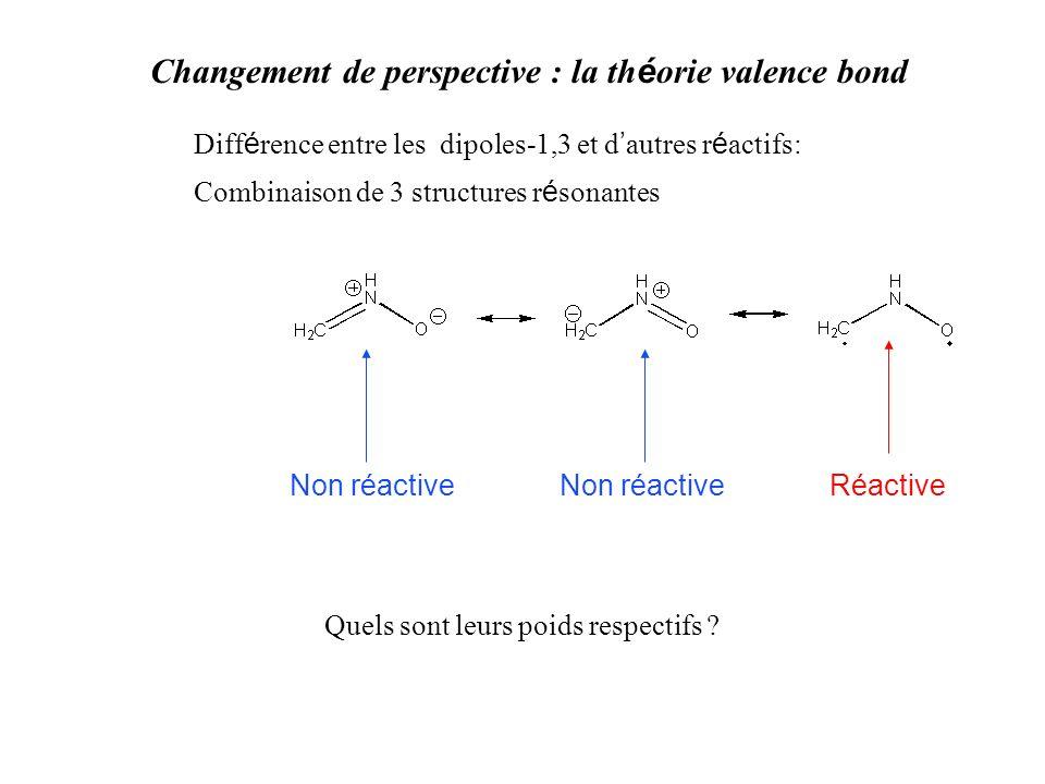 Changement de perspective : la th é orie valence bond Diff é rence entre les dipoles-1,3 et d autres r é actifs: Combinaison de 3 structures r é sonantes Non réactive Réactive Quels sont leurs poids respectifs ?