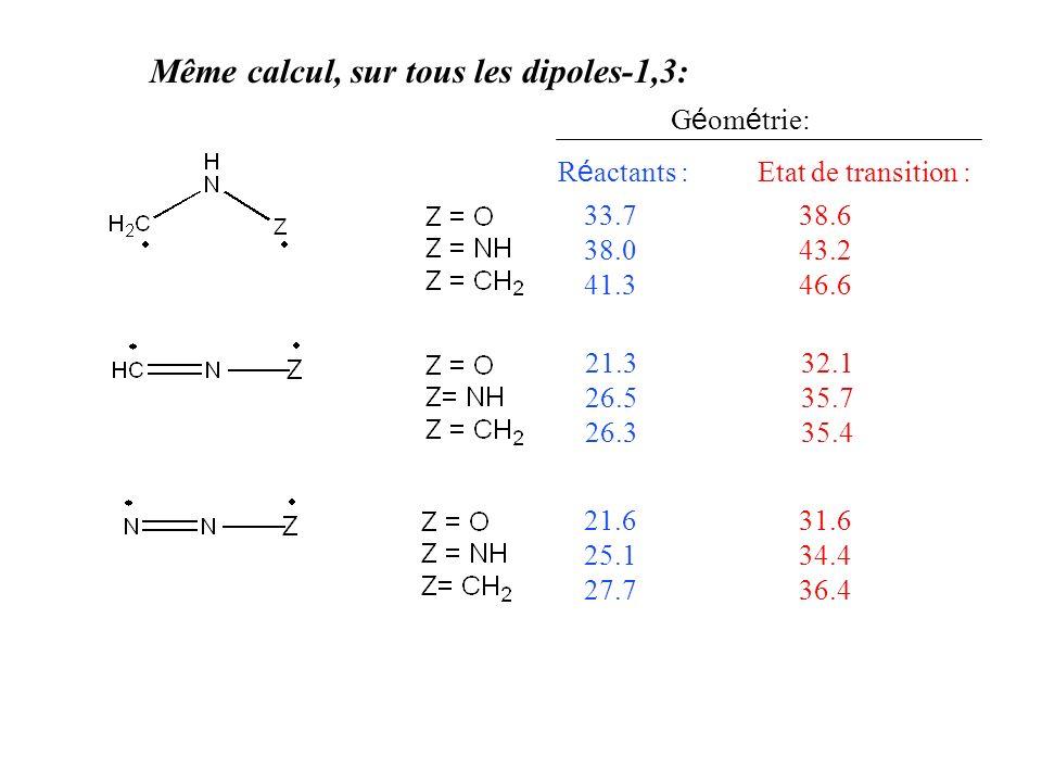 Même calcul, sur tous les dipoles-1,3: 33.7 38.0 41.3 G é om é trie: R é actants : Etat de transition : 21.3 26.5 26.3 21.6 25.1 27.7 38.6 43.2 46.6 32.1 35.7 35.4 31.6 34.4 36.4