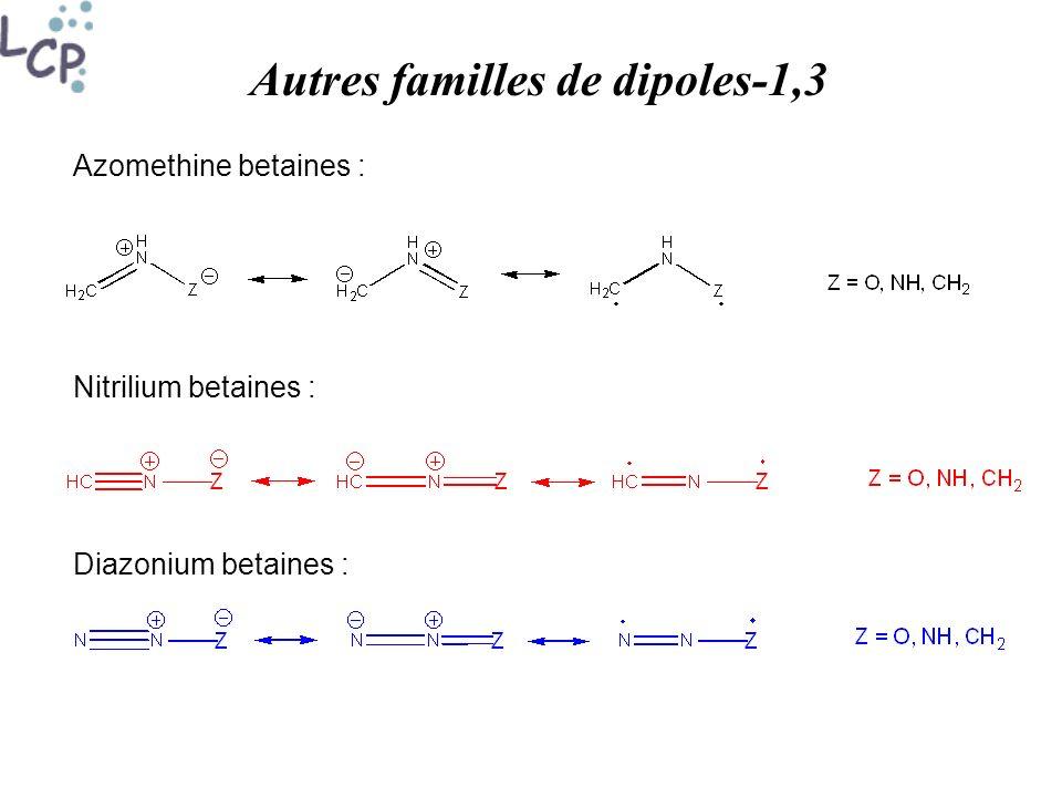 Autres familles de dipoles-1,3 Azomethine betaines : Nitrilium betaines : Diazonium betaines :