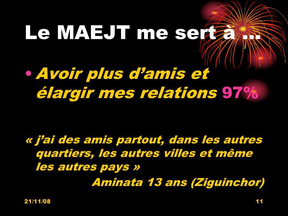 21/11/0811 Le MAEJT me sert à … Avoir plus damis et élargir mes relations 97% « jai des amis partout, dans les autres quartiers, les autres villes et