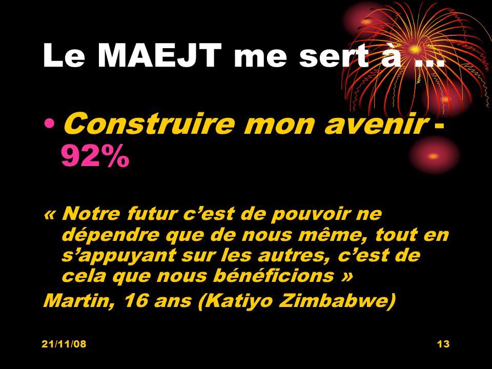 21/11/0813 Le MAEJT me sert à … Construire mon avenir - 92% « Notre futur cest de pouvoir ne dépendre que de nous même, tout en sappuyant sur les autr